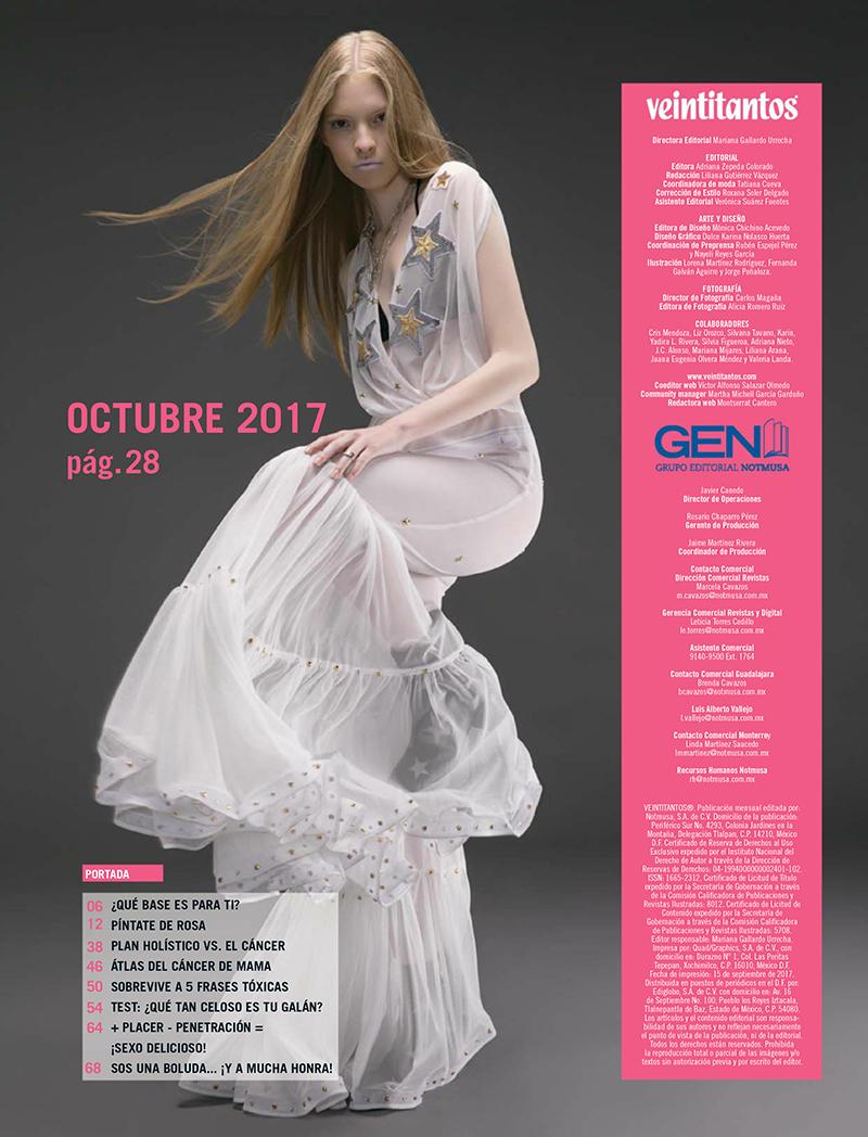 Alejandra Velasco for Veintitantos Magazine October 2017